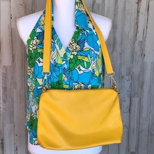 Yellow faux leather crossbody purse